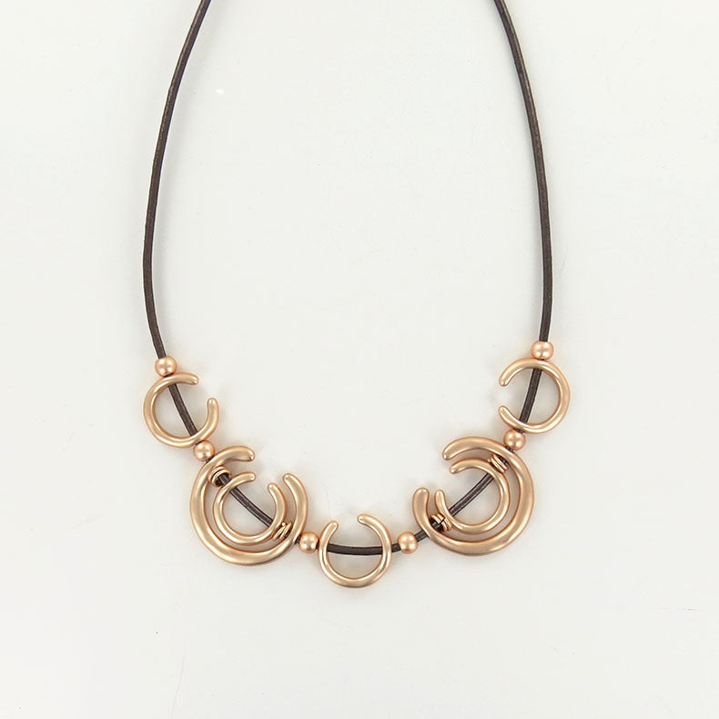 "METALIC COPPER LEATHER AND ROSE GOLD ""U"" NECKLACE"