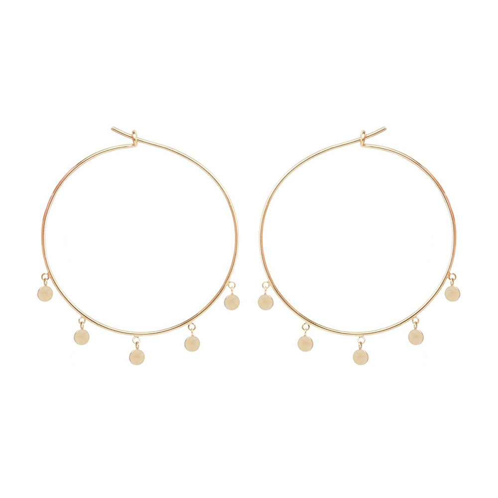 MEDIUM HOOPS WITH DANGLING ITTY BITTY DISCS