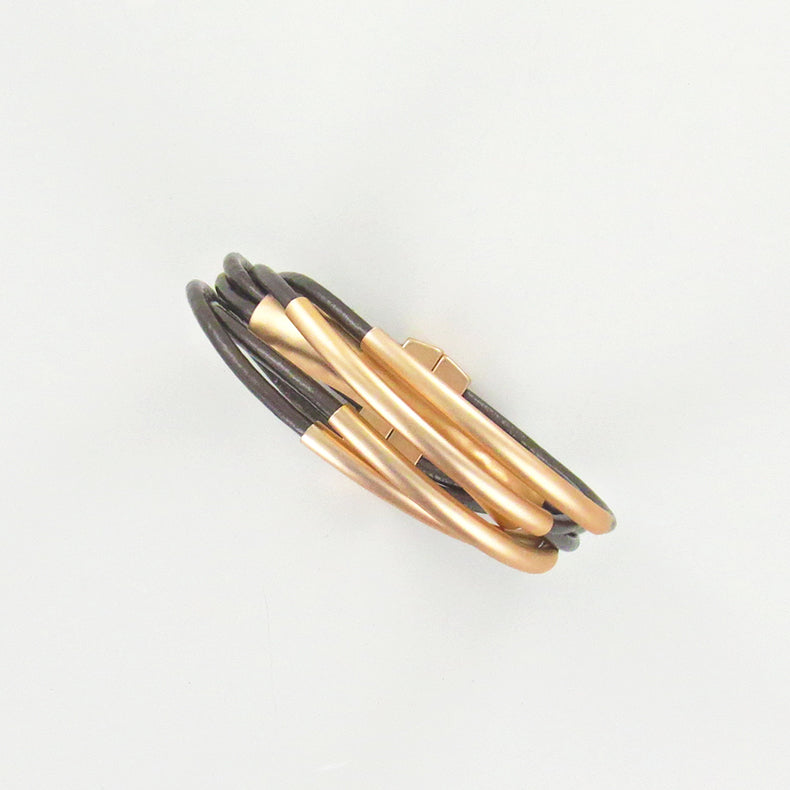METALLIC COPPER LEATHER WITH MATTE GOLD TUBE BRACE