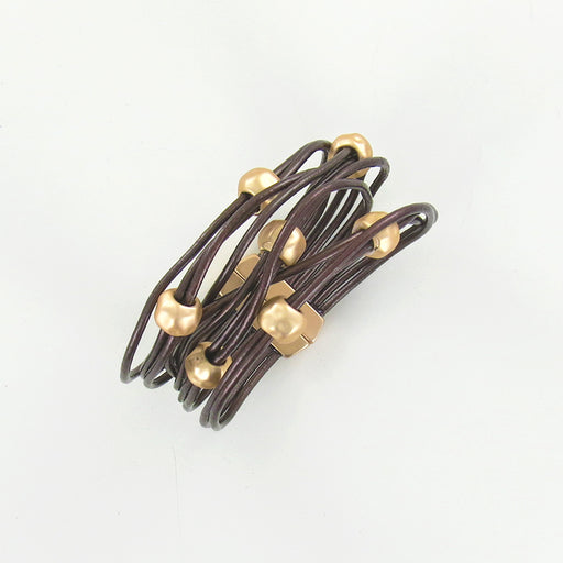 COPPER LEATHER AND MATTE GOLD BEADS BRACELET