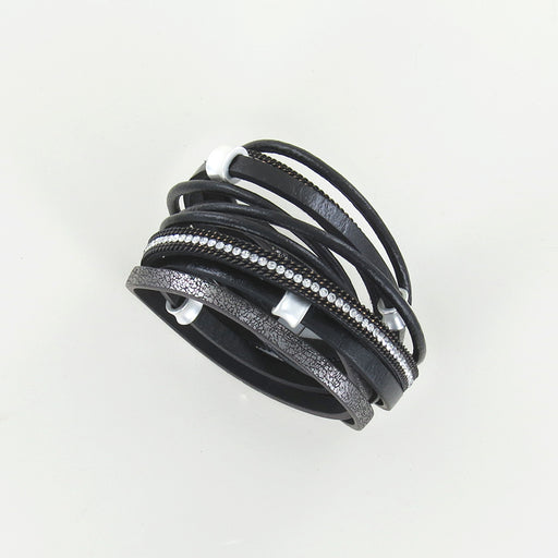 MATTE SILVER AND BLACK LEATHER MULTI STRAND BRACEL