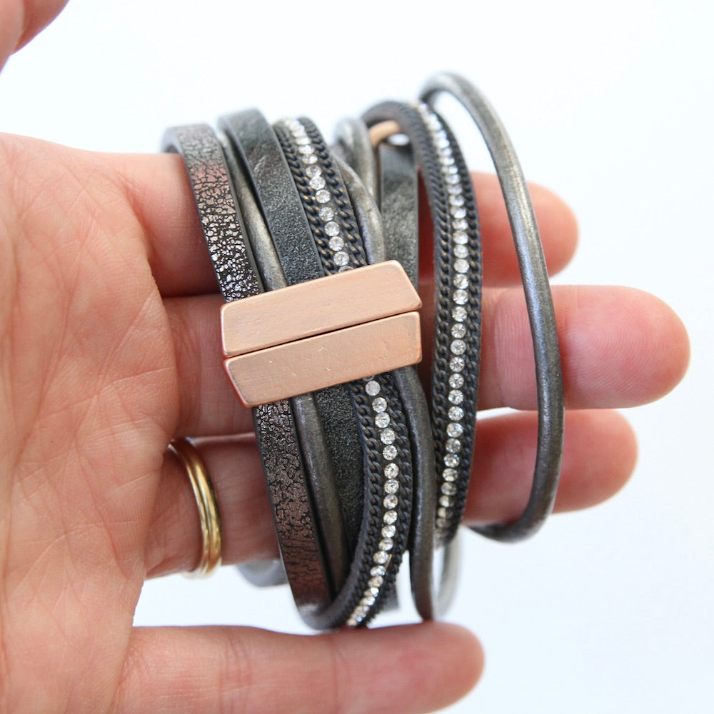 MATTE ROSE GOLD AND GREY LEATHER MULTI STRAND BRACELET