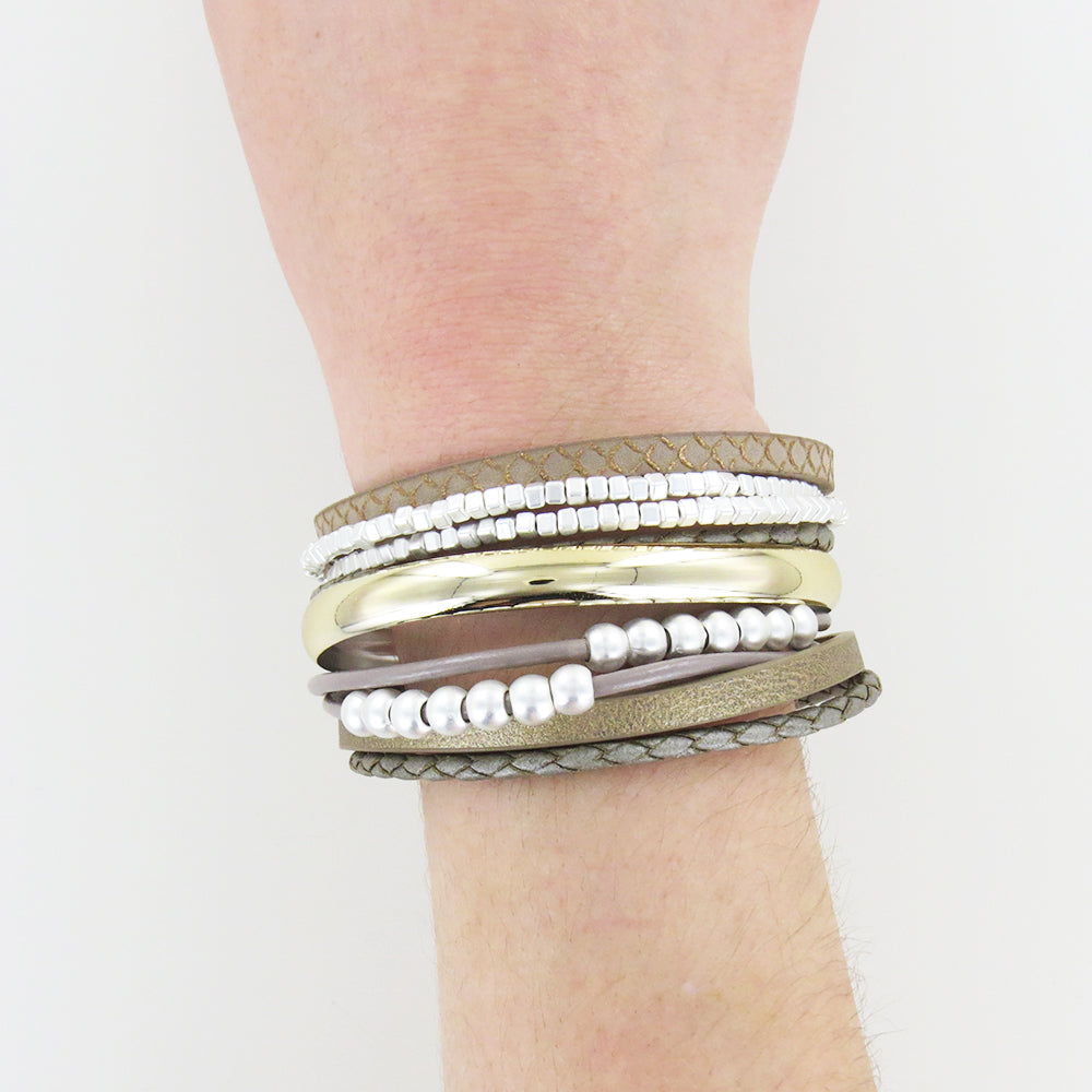 MATTE SILVER AND TAUPE LEATHER BRACELET