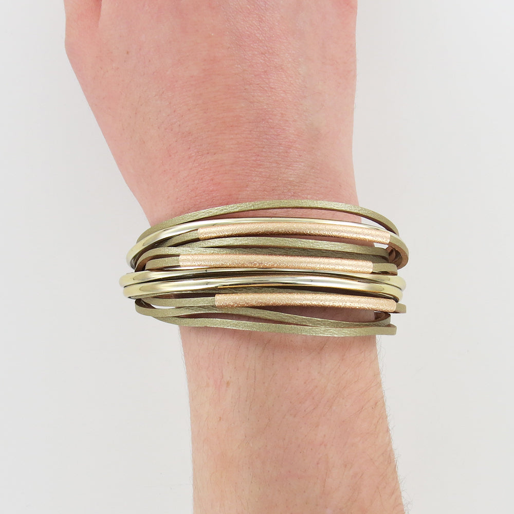 MATTE GOLD  WITH GOLD LEATHER MULTI STRAND BRACELE