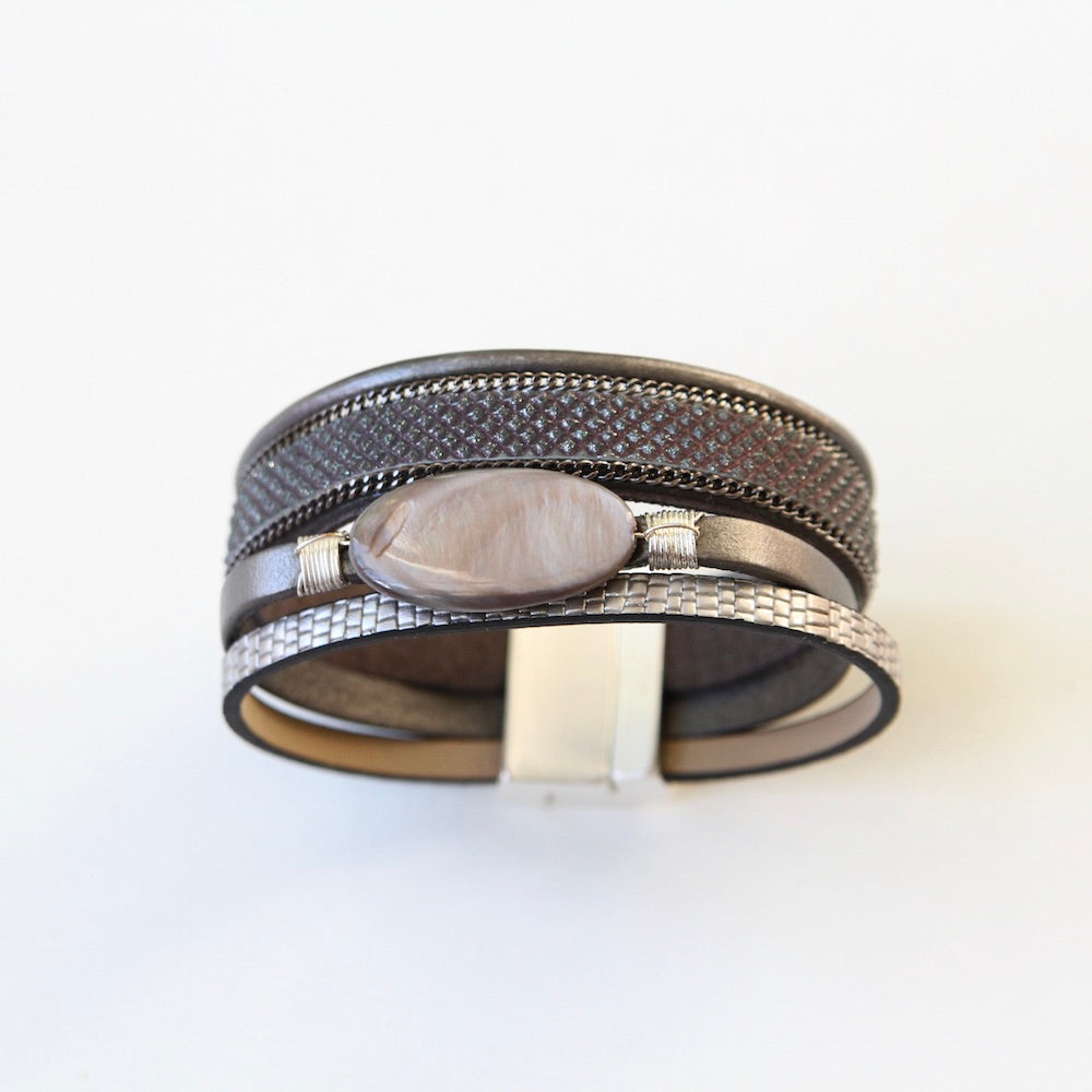 MULTI STRAND TEXTURED LEATHER WITH OVAL ABALONE BRACELET