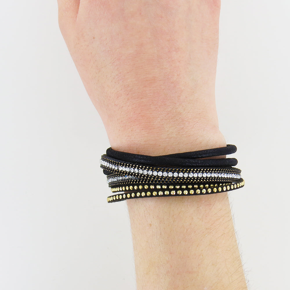 BLACK AND MATTE SILVER WRAP BRACELET