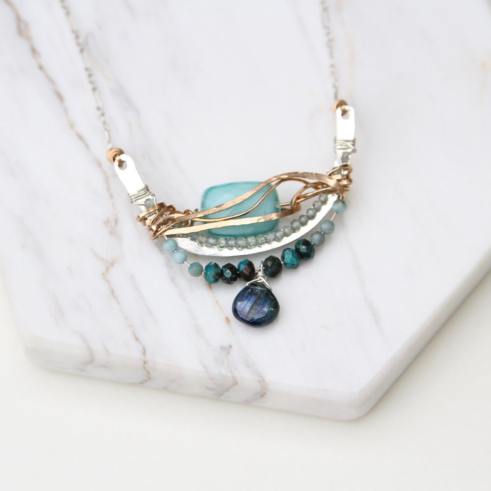 Turquoise Crystal Arch Wrapped Necklace