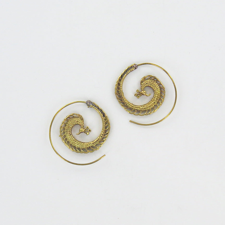 BRASS SPIRAL HOOP WITH PEACOCK
