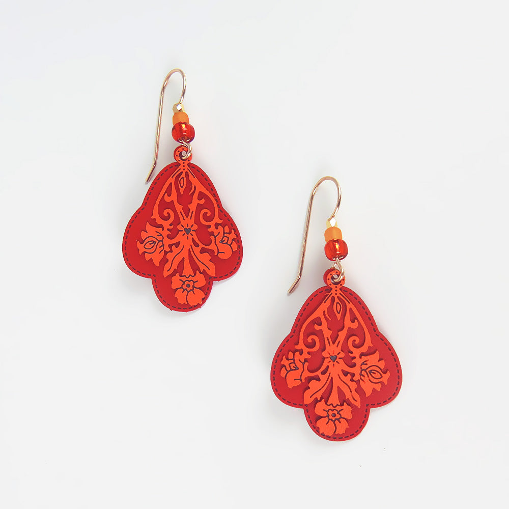 ORANGE FLORAL EARRING