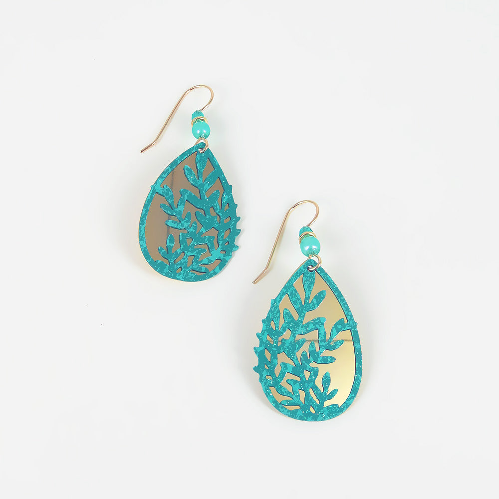 GREEN LEAF TEARDROP EARRING
