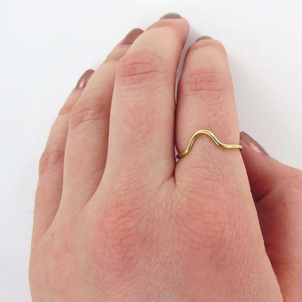 GOLD DOMED STACKING RING