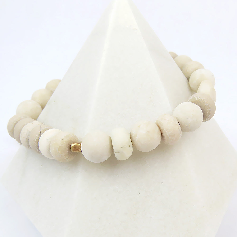 Scout White Fossil Stone Stacking Bracelet