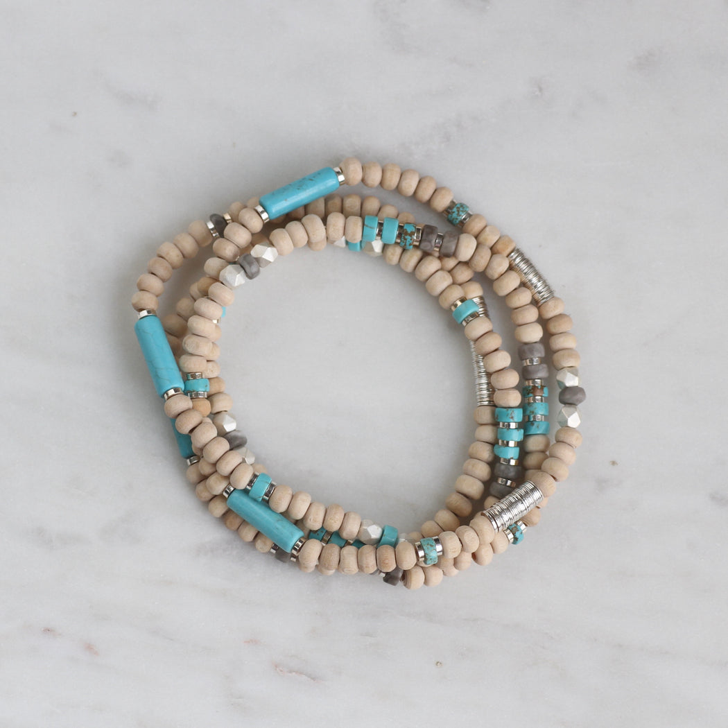 Scout Wood & Turquoise Wrap Bracelet & Necklace
