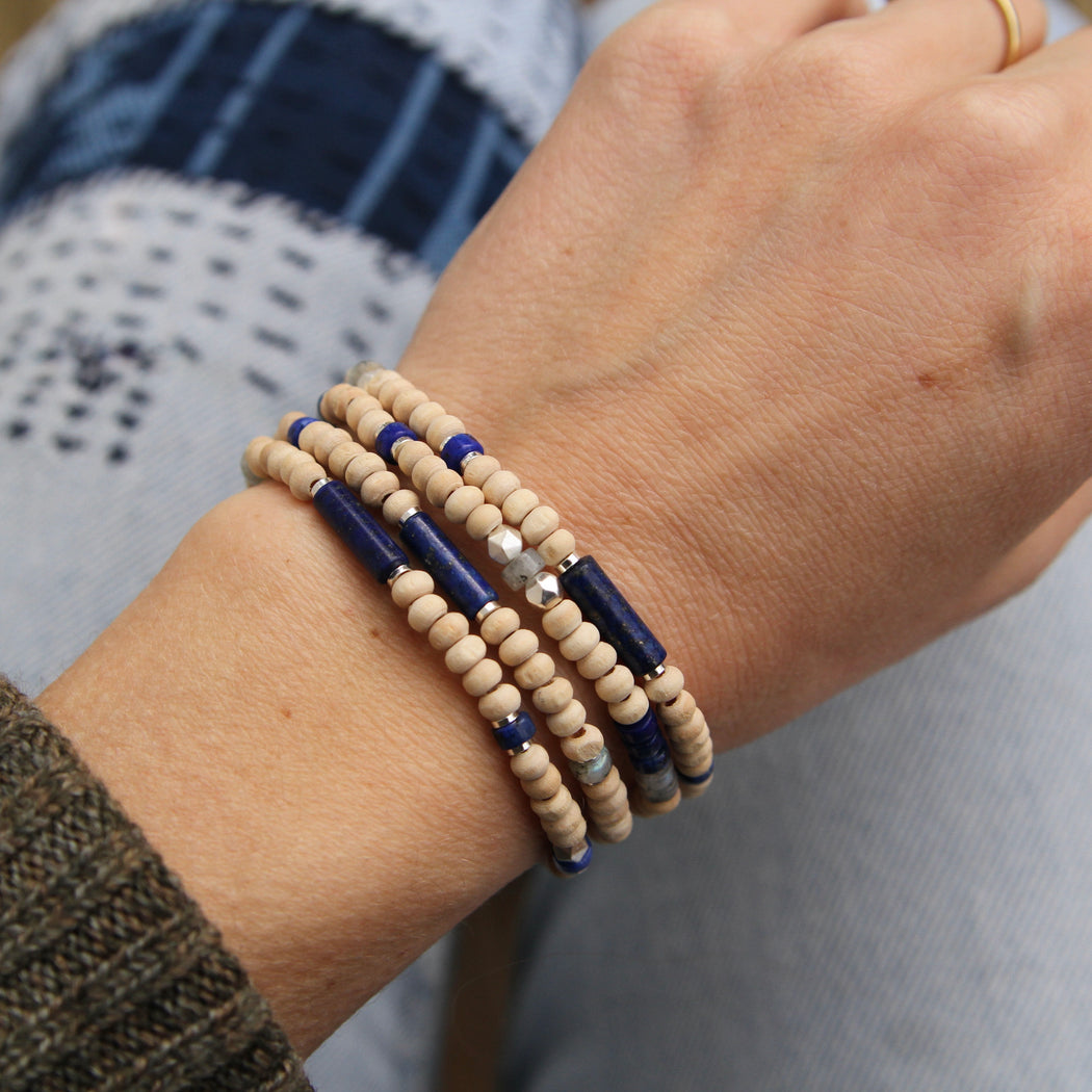 Scout Wood & Lapis Wrap Bracelet & Necklace