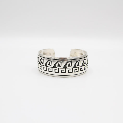 Wide Cuff with Geometric Pattern Silver Overlay