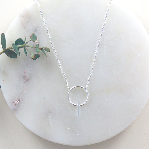 BAR AND CIRCLE SILVER NECKLACE