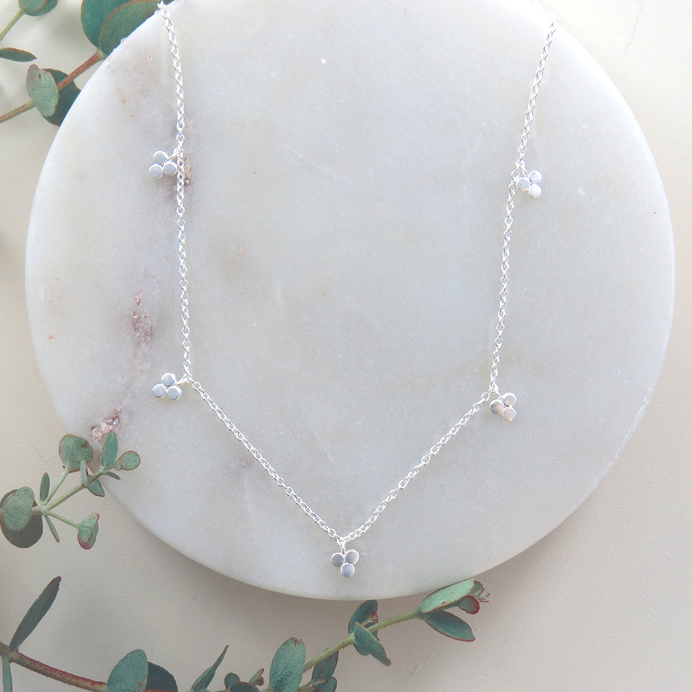 SILVER THREE DOT STATION NECKLACE