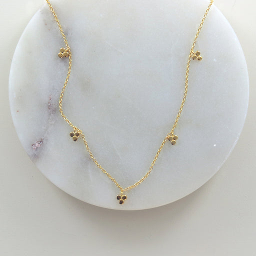 GOLD THREE DOT STATION NECKLACE