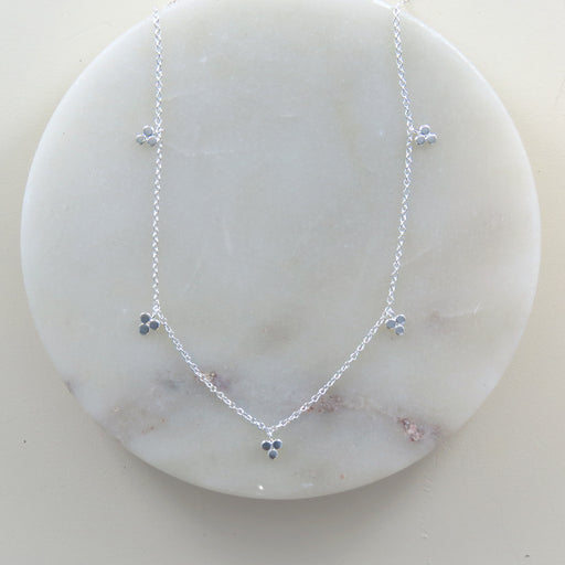 POLISHED SILVER THREE DOT STATION NECKLACE