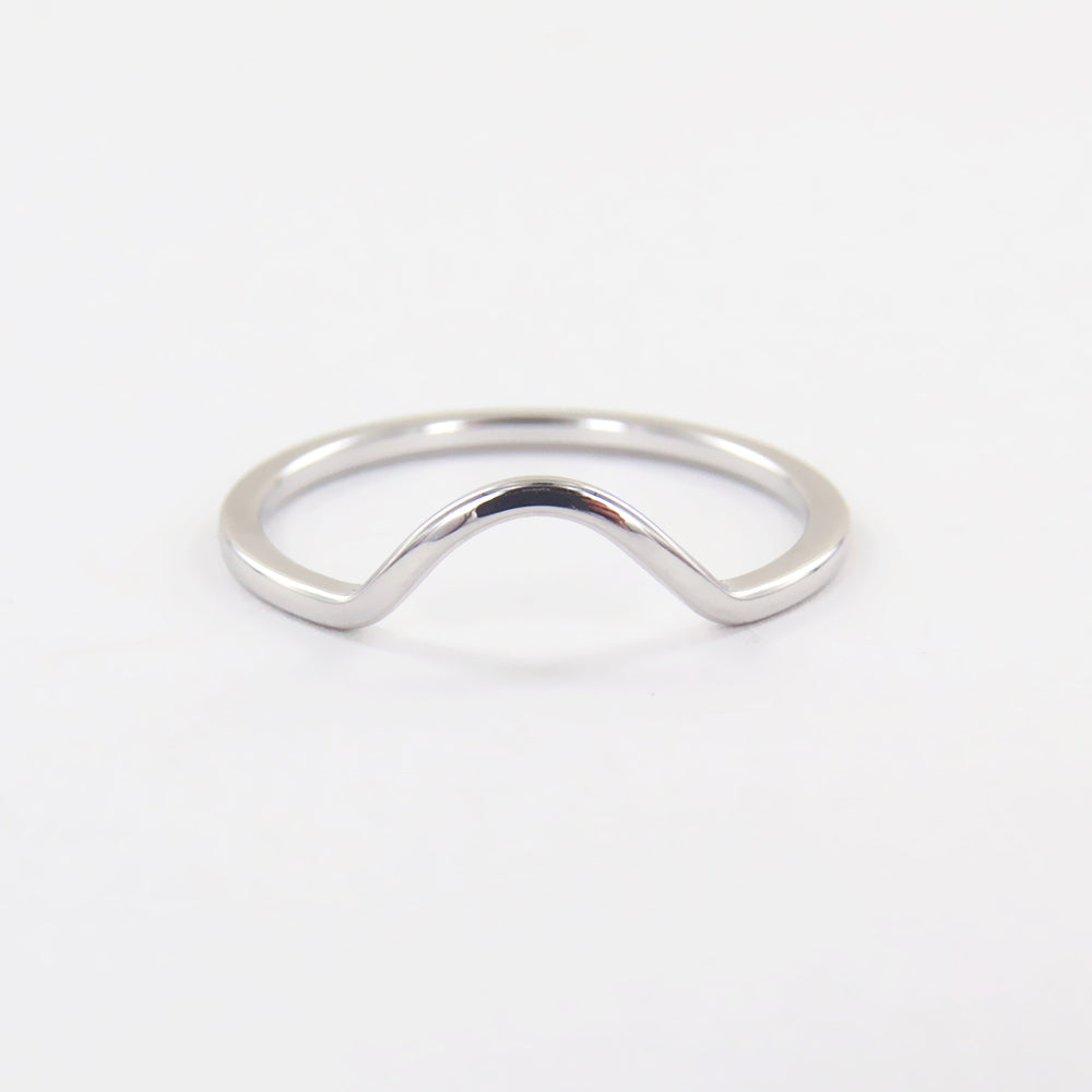SILVER DOMED STACKING RING