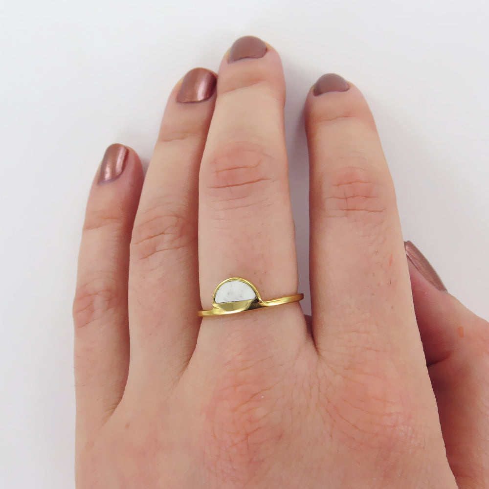 GOLD HALF MOON HOWLITE RING