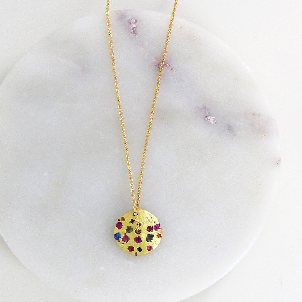 Polly Wales Celeste Spinning Disc Pendant in Rainbow Sapphires