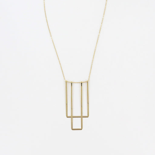 14K SIMPLE SQUARE BIB NECKLACE