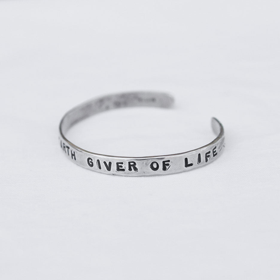 """Love Mother Earth Giver Of Life"" Sterling Silver Cuff Bracelet"