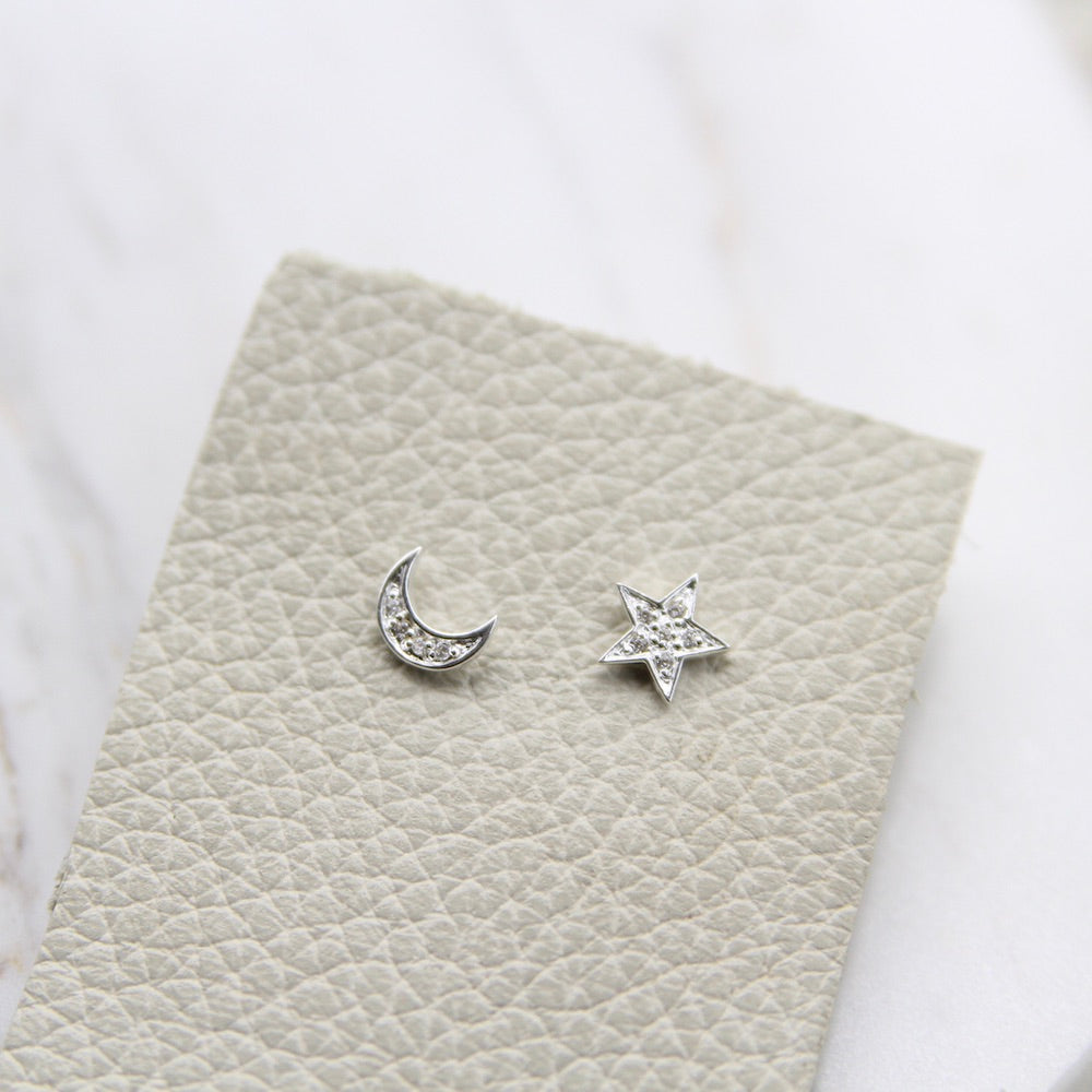 Cubic Zirconia Pave Moon And Star Stud Earring