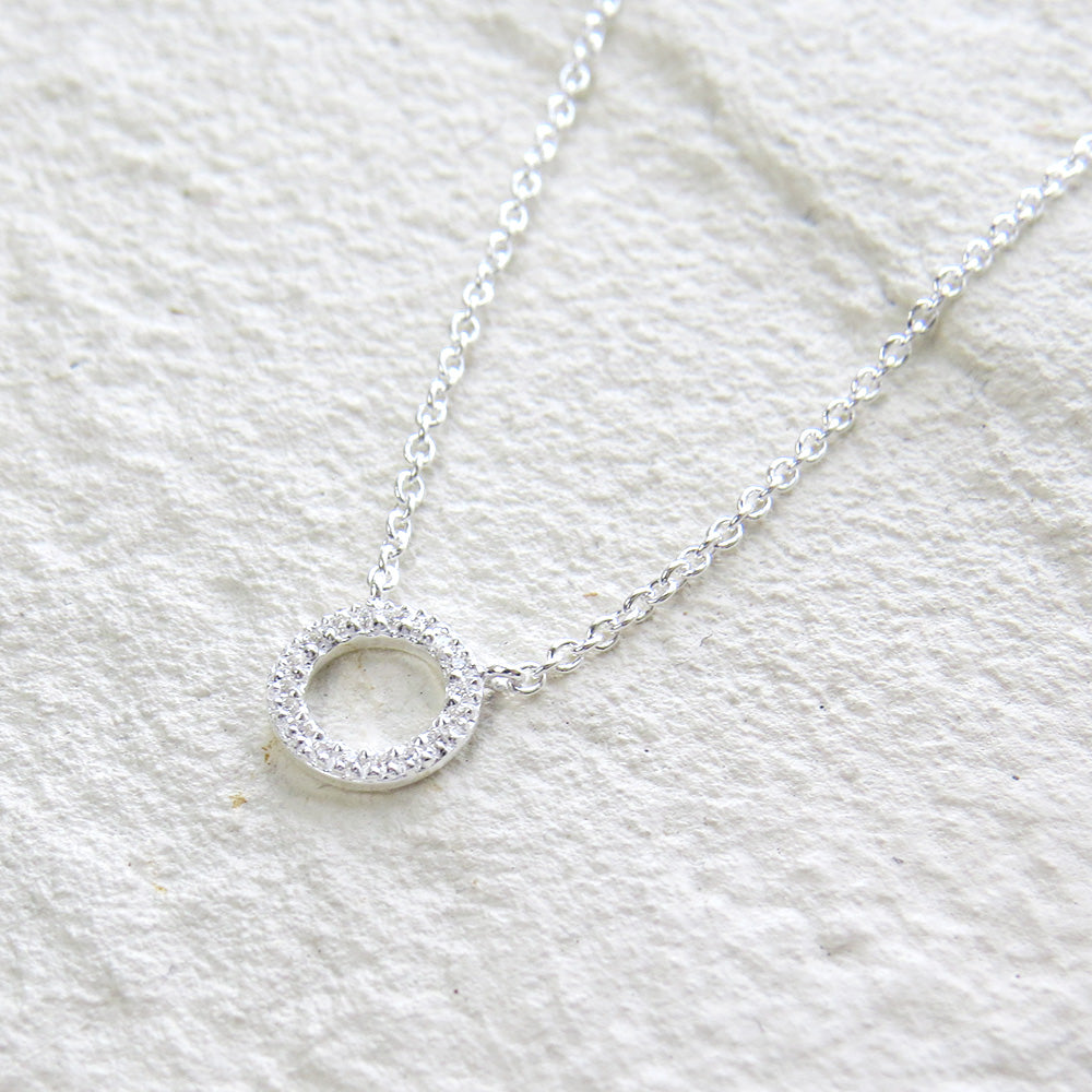 CZ PAVE CIRCLE NECKLACE