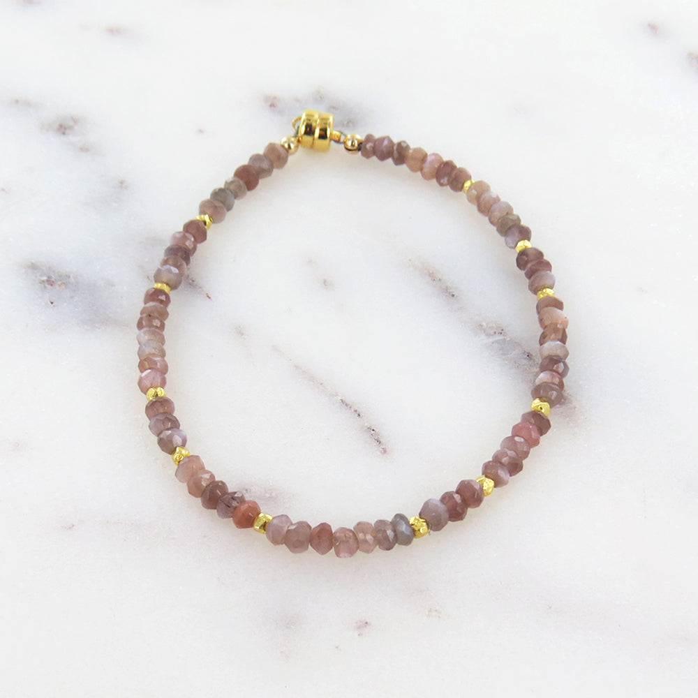 CHOCOLATE MOONSTONE BEADED BRACELET