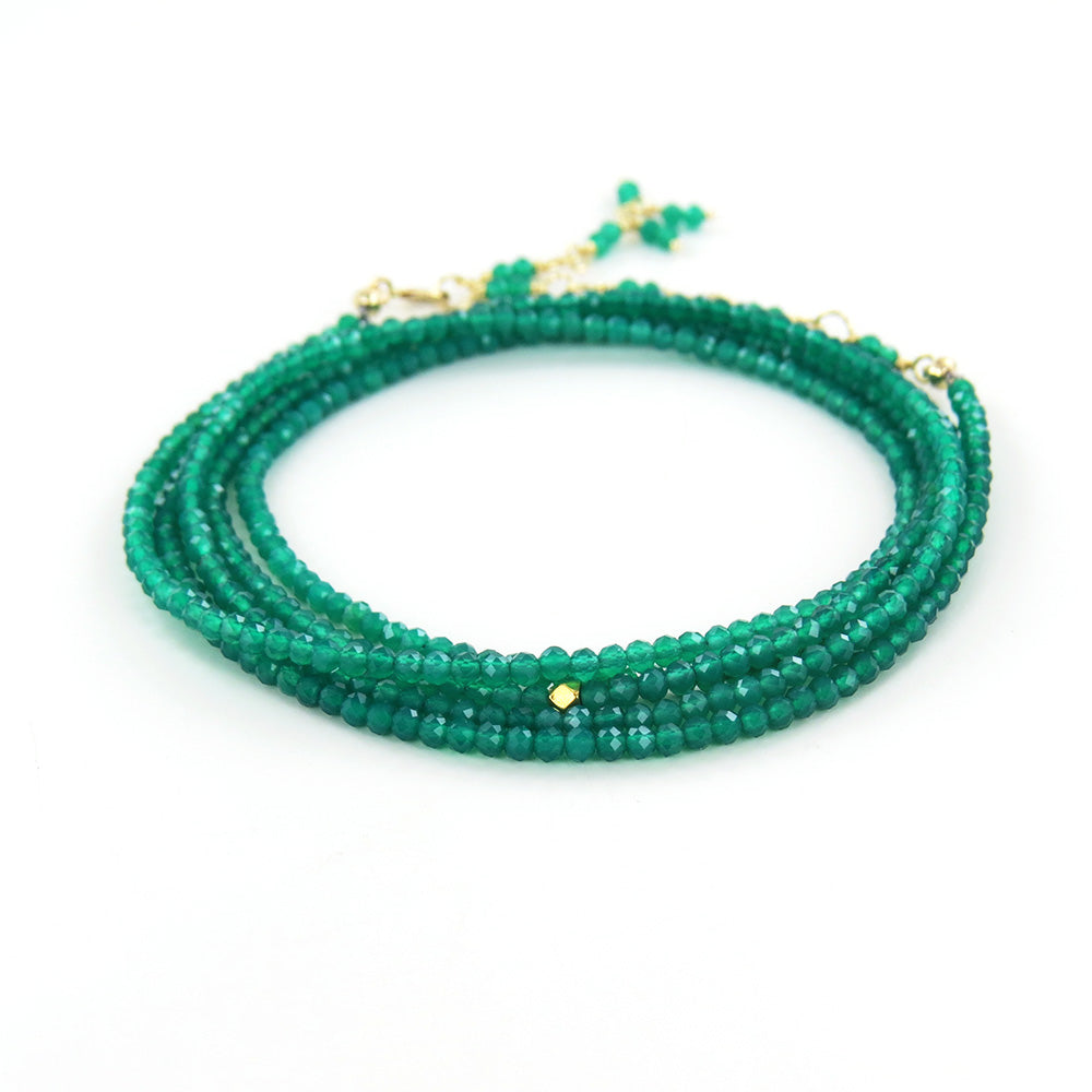 Green Onyx Wrap Bracelet & Necklace