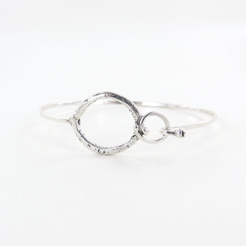 PEAR AND CIRCLE CLASP BANGLE