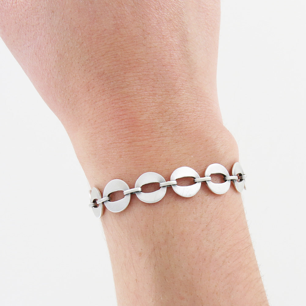 Cat's Eye Link Bracelet - Sterling Silver