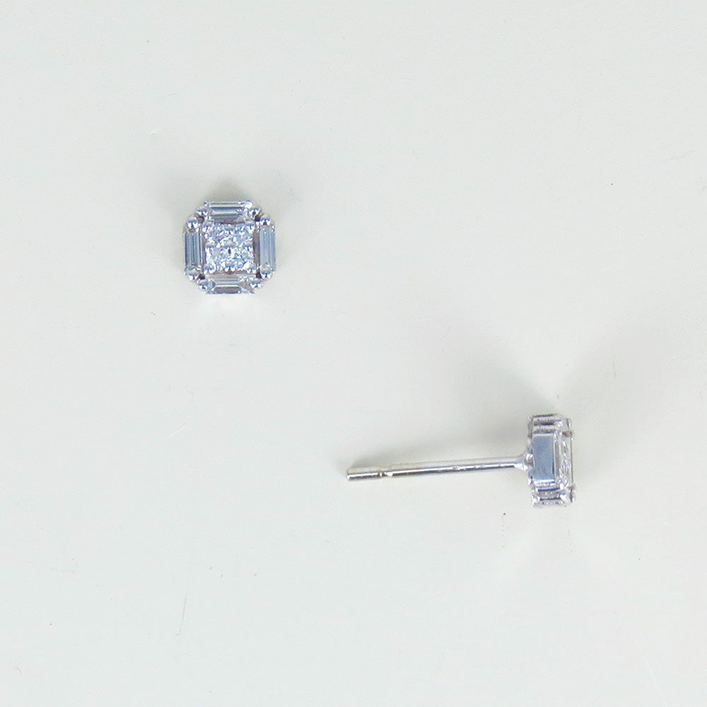 MINI SQUARE DIAMOND POST EARRINGS