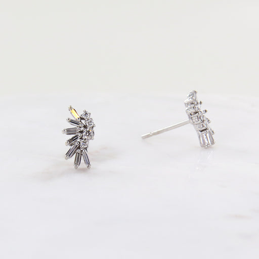 18K WHITE GOLD DIAMOND CLUSTER POST EARRING