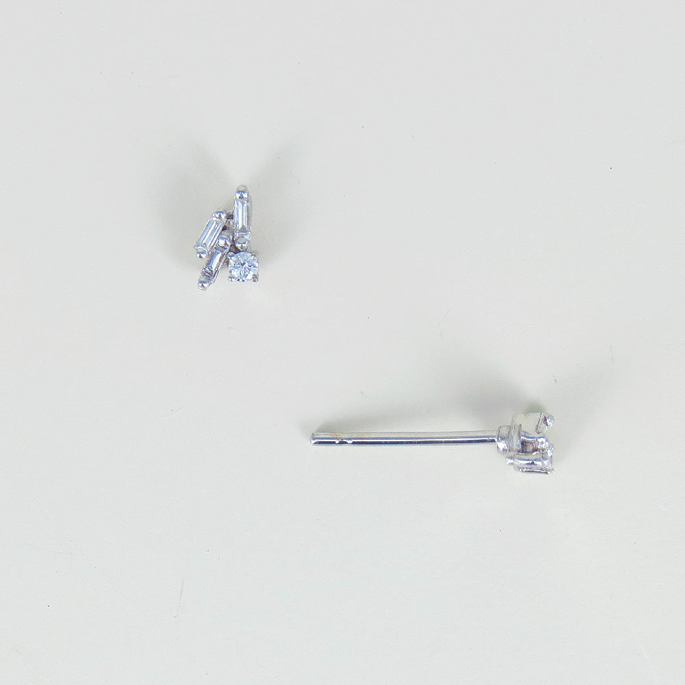 BAGUETTE AND ROUND DIAMOND POST EARRINGS