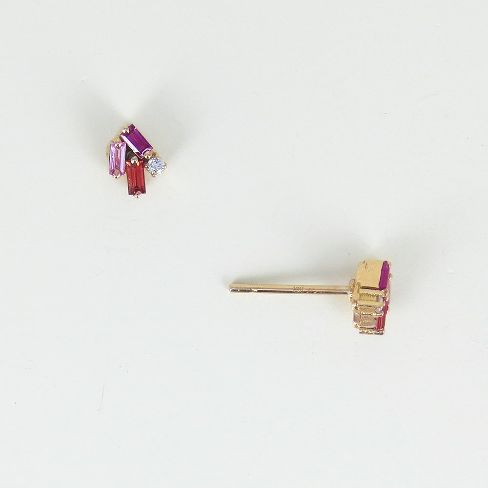 PINK AND ORANGE SAPPHIRE BAGUETTES POST EARRING