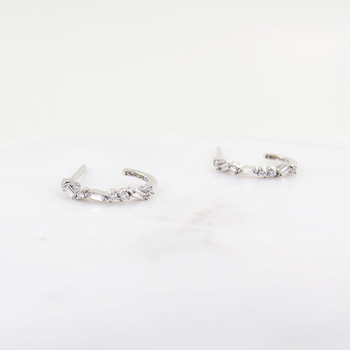 WHITE DIAMOND BAGUETTE HOOPS