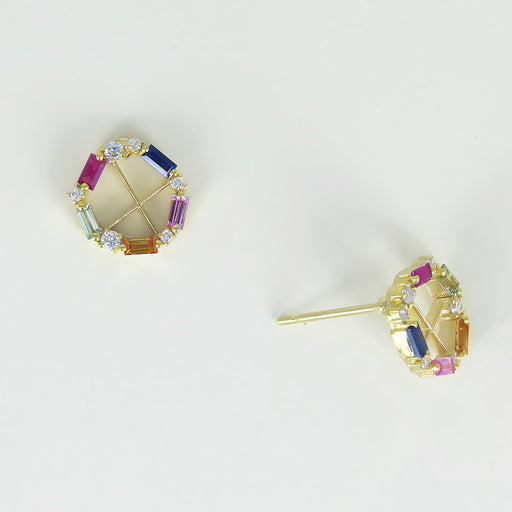 RAINBOW SAPPHIRE BAGUETTE ROUND POST EARRING
