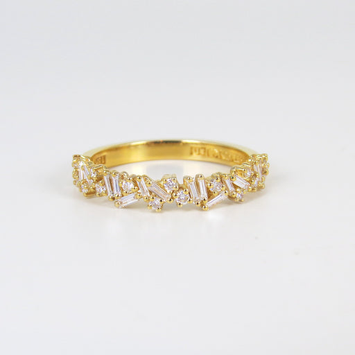 18K YELLOW GOLD FIREWORKS HALFWAY BAND