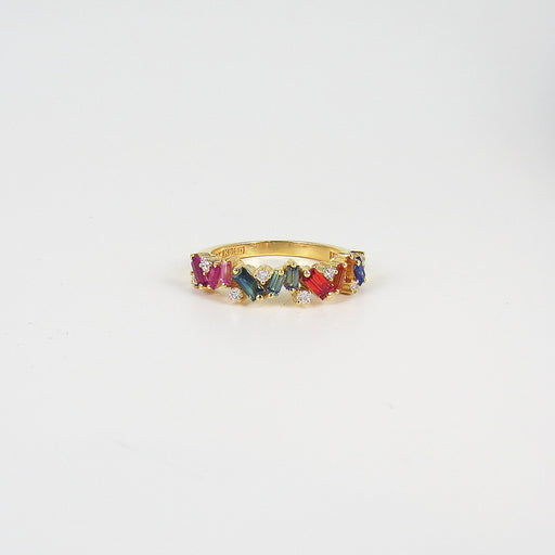 RAINBOW FIREWORKS HALF BAND RING