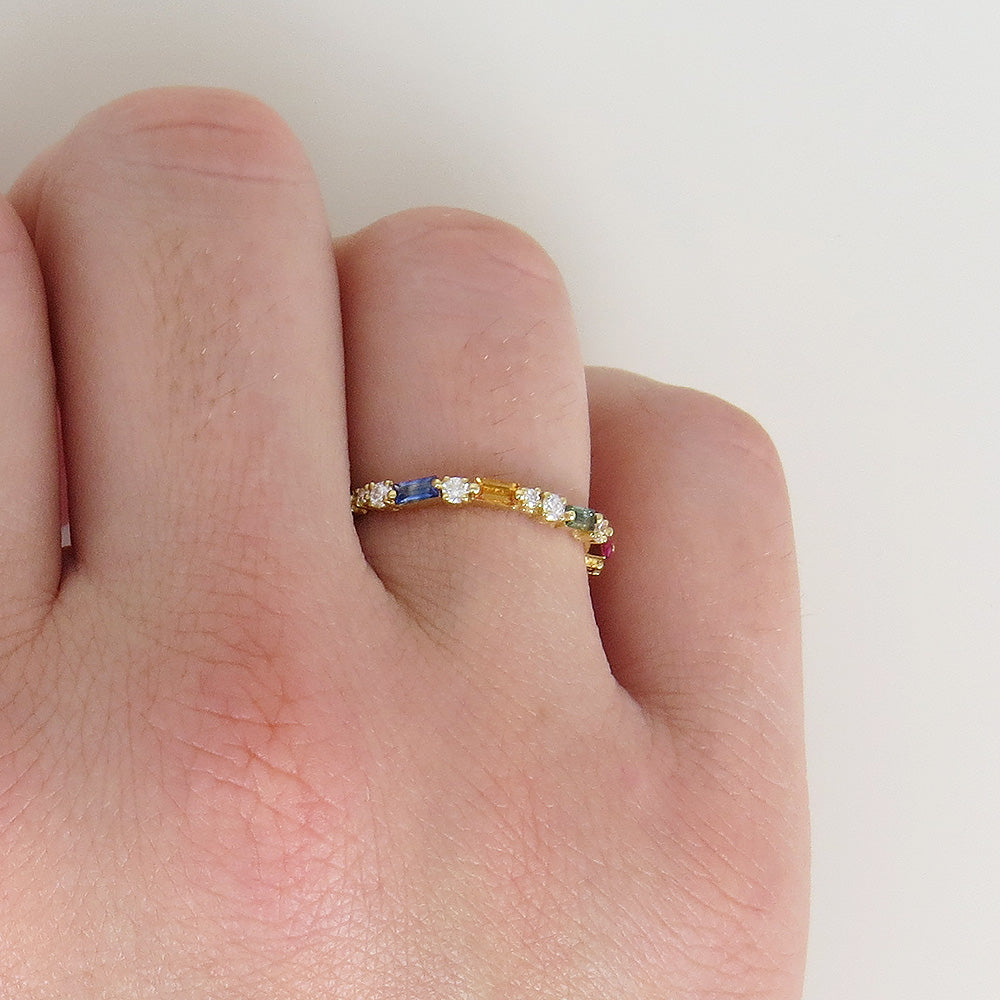 RAINBOW BAGUETTE THIN ETERNITY BAND