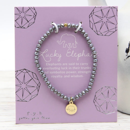 LUCKY ELEPHANT - CRYSTAL GREY STRETCHY BRACELET