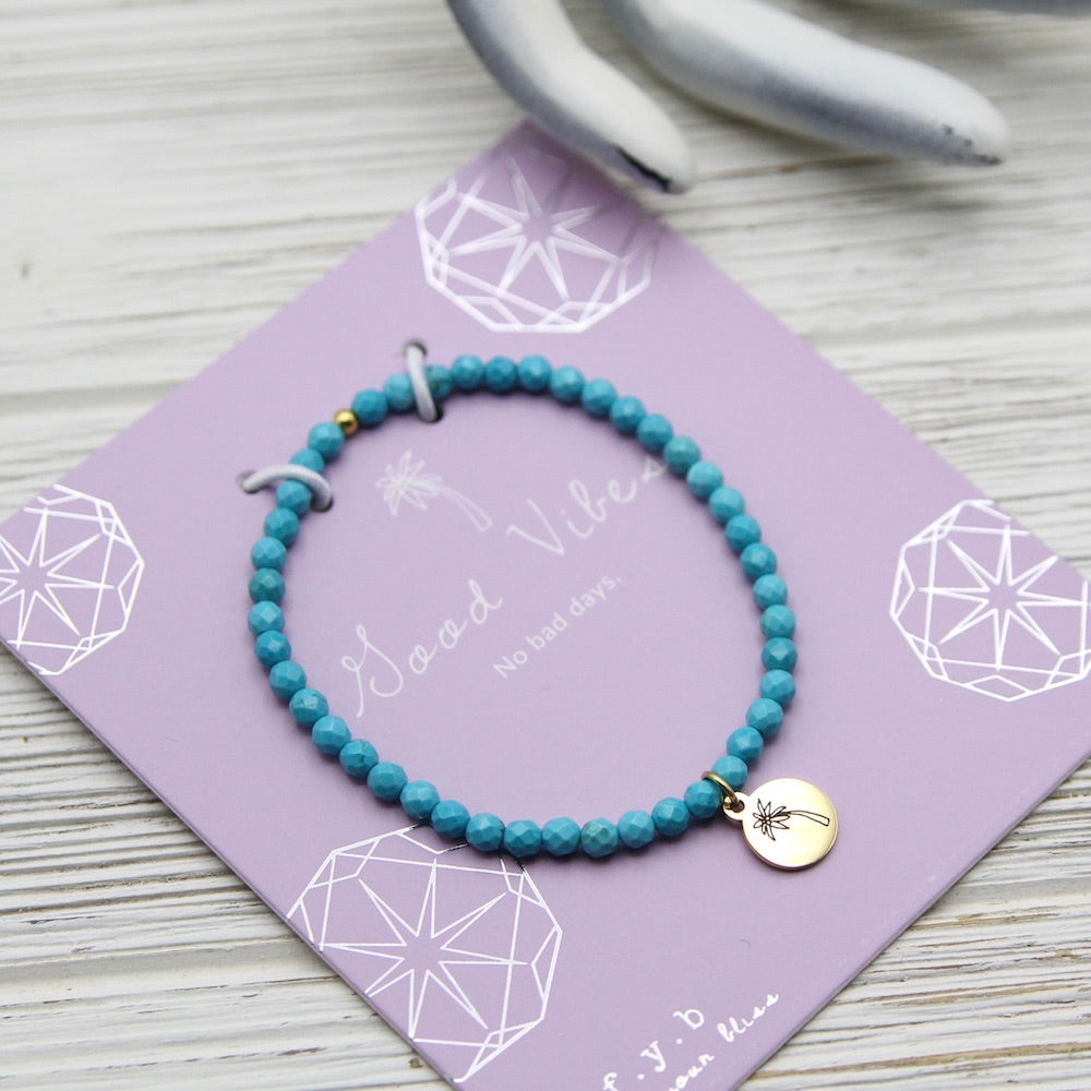 Good Vibes ~ Stretchy Turquoise Bracelet