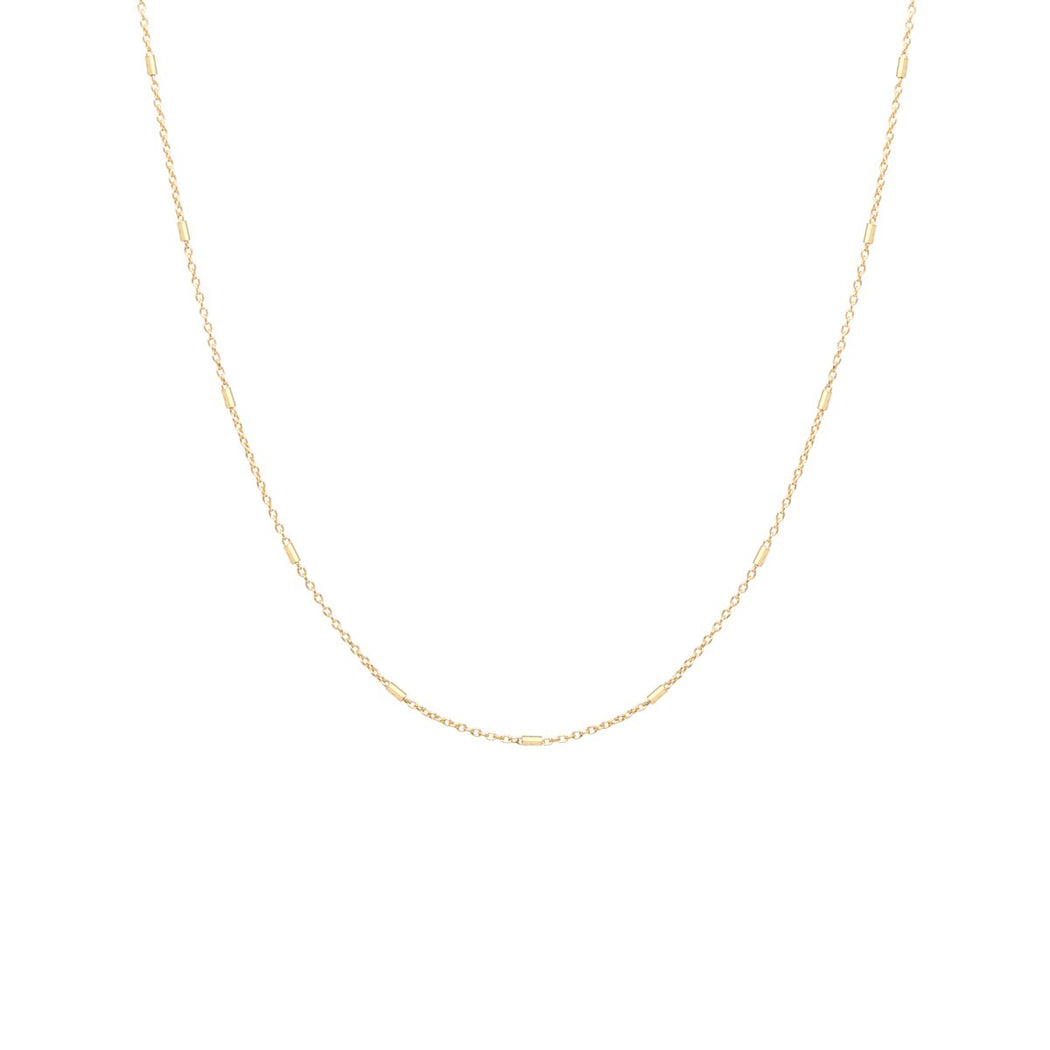 "16"" 14K GOLD TINY BAR CABLE CHAIN NECKLACE"