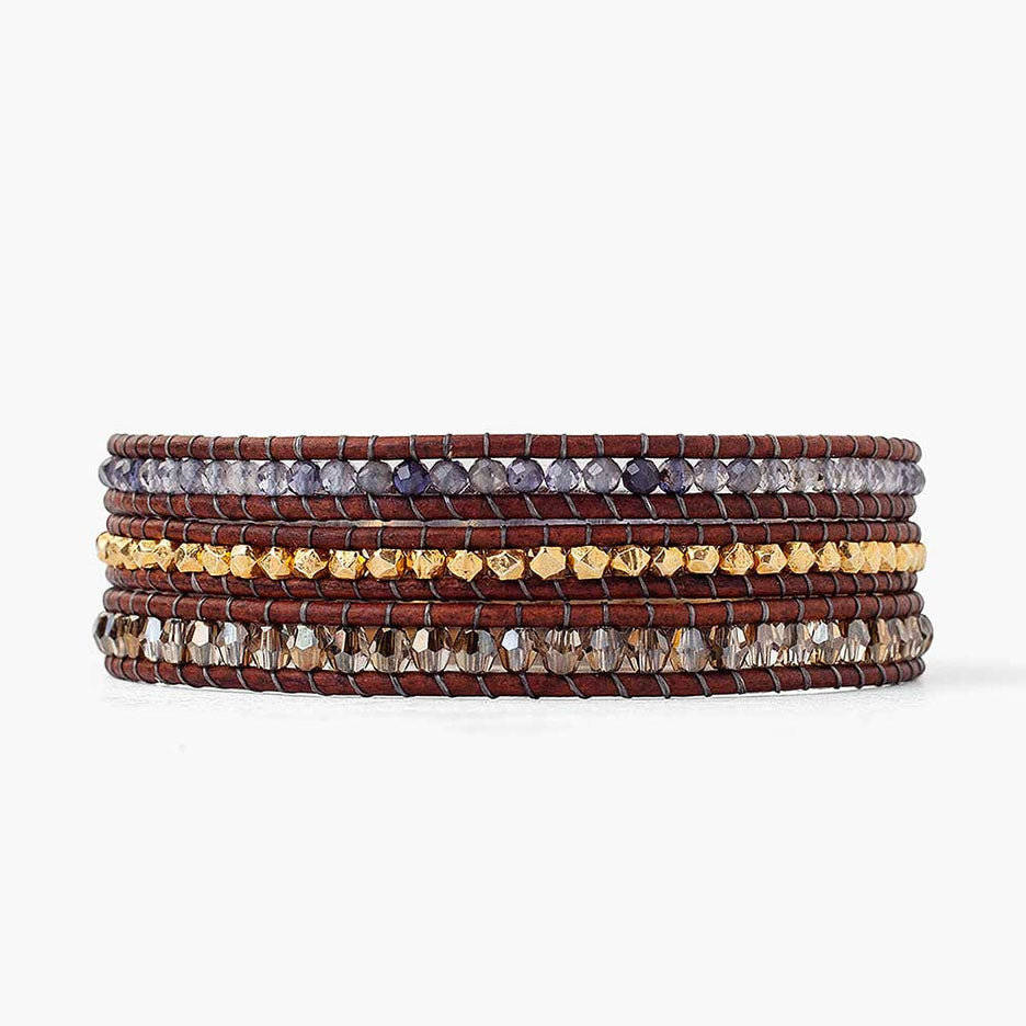 Iolite & Gold Triple Wrap Bracelet