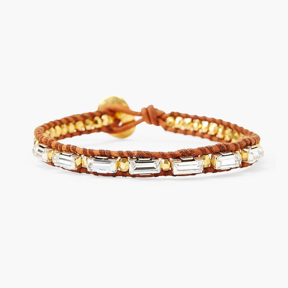Lucent Crystal And Gold Single Wrap Bracelet