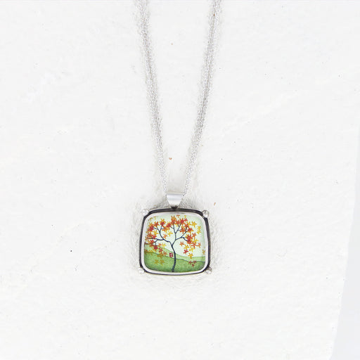 AUTUMN MAPLE HAND PAINTED SQUARE NECKLACE