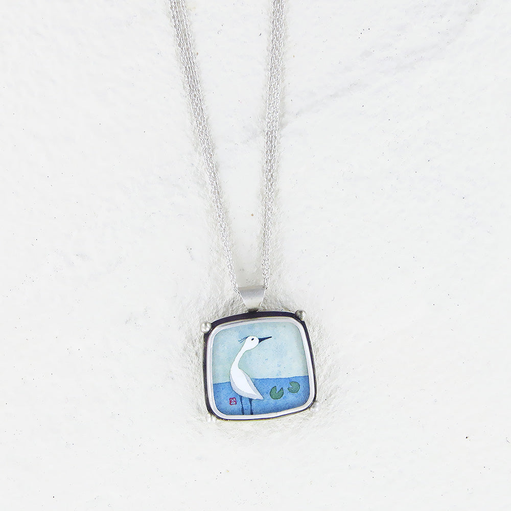 CRANE HAND PAINTED SQUARE NECKLACE